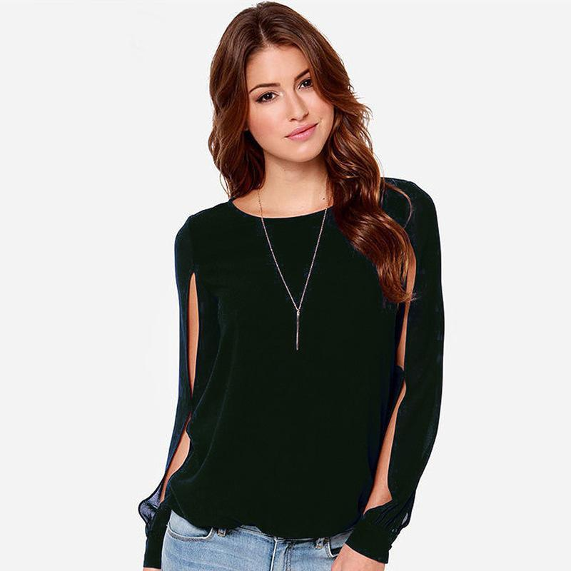 Clearance Sale Fashion Plus Size Multi-style Women's Solid Loose O-Neck Chiffon Shirt Long Sleeved Candy Colors Short Shirt-noashe