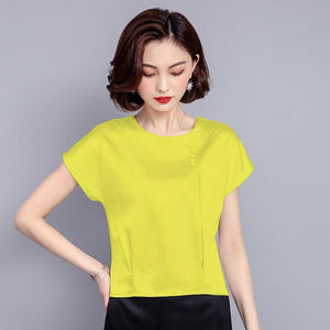 2018 new fashion summer clothing women tops solid loose silk short sleeved blouses casual o-neck female blouses shirts 0425 40-noashe