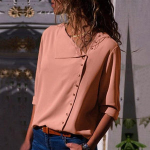 Missufe 6 Colors Side Button Irregular Blouse Shirts For Women 2018 Blusas Long Sleeve Streetwear Female Top Summer Blouses-noashe