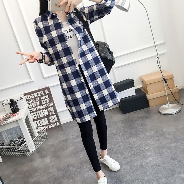 EYM Brand Autumn Women Long Shirt Girlfriend Style Cotton Casual Long Sleeve Red Flannel Plaid Shirt Blouses Female Tops Blusas-noashe
