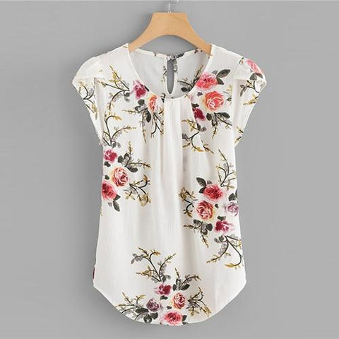 Sheinside Beige Cap Sleeve Casual Tops Office Ladies Round Neck Regular Fit Floral Asymmetrical 2018 Elegant Women Summer Blouse-noashe