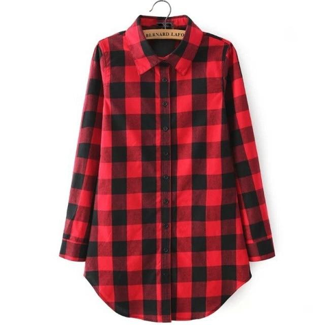 hot sale 2018 New autumn cotton Checker plaid blouses shirt female long sleeve casual slim women shirt office lady tops Clothing-noashe