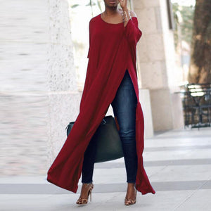 2018 Spring ZANZEA Casual Crew Neck 3/4 Sleeve Loose Tops High Splits Irregular Hem Women Blouse Off Shoulder Club Prty Shirts-noashe