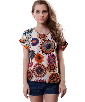 Singwing Women Shirts Blouse short Sleeve Lady's summer chiffon Blouses Shirts Top-noashe