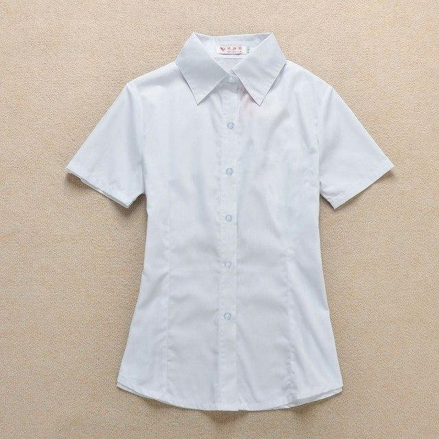 Top Quality Women's Short Sleeve Chiffon Shirt Women Chiffon Shirts White Turn-down Collar Blouse Solid Color Slim Fit Blusa-noashe