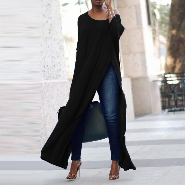 Top Blusas 2018 Spring ZANZEA Women 3/4 Sleeve Maxi OL Blouse Fashion Loose Solid Pullover High Split Nighclub Long Tee Plus-noashe