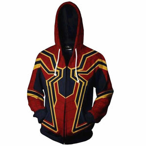 The Avengers 3 Superhero Hoodie Spiderman Venom Iron Man Captain America Thin Hoodies Iron Spider-man Casual Zipper Coat Outfit-noashe