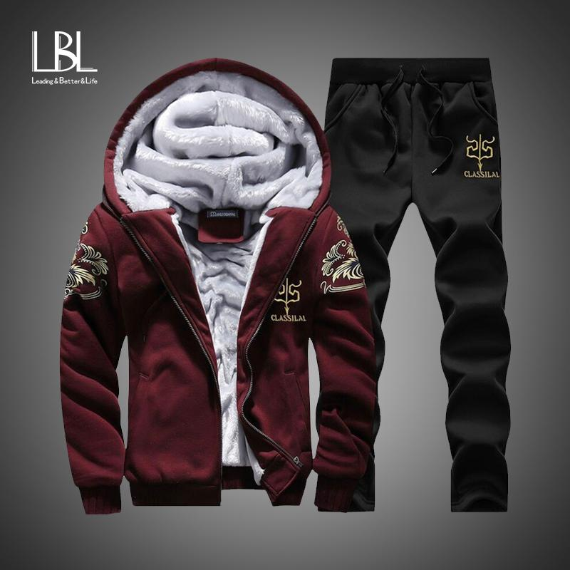 Winter Inner Fleece Hoodies Men 2018 Casual Hooded Warm Sweatshirts Male Thicken Tracksuit 2PC Jacket+Pant Men Moleton Masculino-noashe
