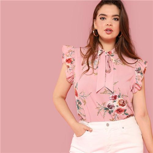 SHEIN Floral Print Pink Ruffle Sleeve Tie Neck Plus Size Elegant Women Blouses Summer Fashion Office Lady Sleeveless Top Blouse-noashe