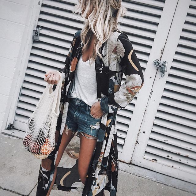 2018 New Women Vintage Floral Chiffon Shirts Loose Shawl Kimono Cardigan Boho Tops Long Sunscreen Jacket Blouse-noashe