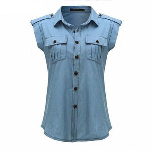 Women Denim Blue Shirts 2018 Summer Vintage Buttons Pockets Blouses Sexy Ladies Sleeveless Jeans Casual Blusas Tops Plus Size-noashe