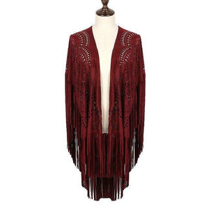2018 Promotion Sale Batwing Sleeve Zanzea Vadim Capes Floral Cut Asymmetric Tassel Shawl Summer Style Design Faux Suede Daylook-noashe