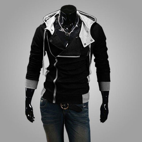 2018 Casual Man Hoodie Sweatshirt Slim Fit Male Zipper Cardigan Hoodies Outerwear Black White Sportswear Men Hooded Jacket 6XL-noashe