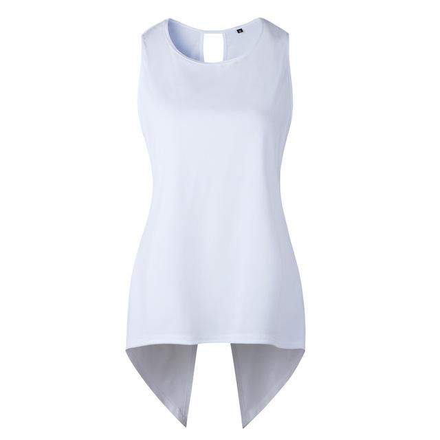 Womens Summer White Blouses Sleeveless Ladies Top Female Cross Irregular O-Neck Woman Blouse Shirt Tops for Women 2018 Tank 3XL-noashe
