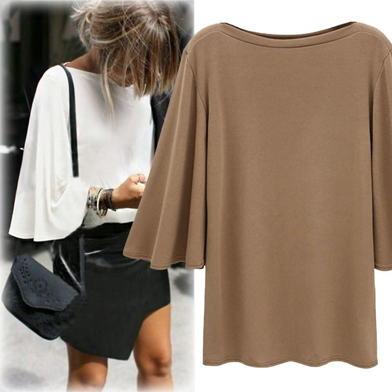 Streetwear Woman Blouse Wide Flare Sleeve Loose Casual Women's Blouses 2018 Spring Summer Plus Size 5XL 4XL 3XL Shirts Tops MK42-noashe