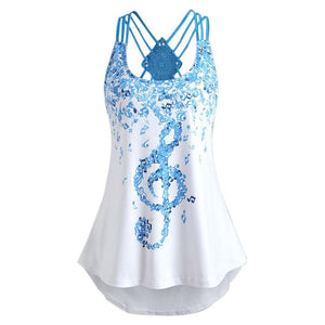 Ladies' Bandages Sleeveless Vest Top Musical Notes Print Strappy Polyester O-Neck Women's Summe Tank Tops #40605-noashe