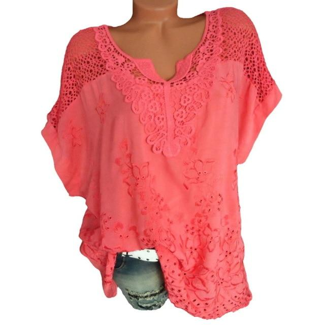 LASPERAL Plus Size 5XL Sexy Women Blouse Lace Hollow Tunic Tops 2018 Summer Short Sleeve Lady Office Shirt Casual Loose Blusa-noashe