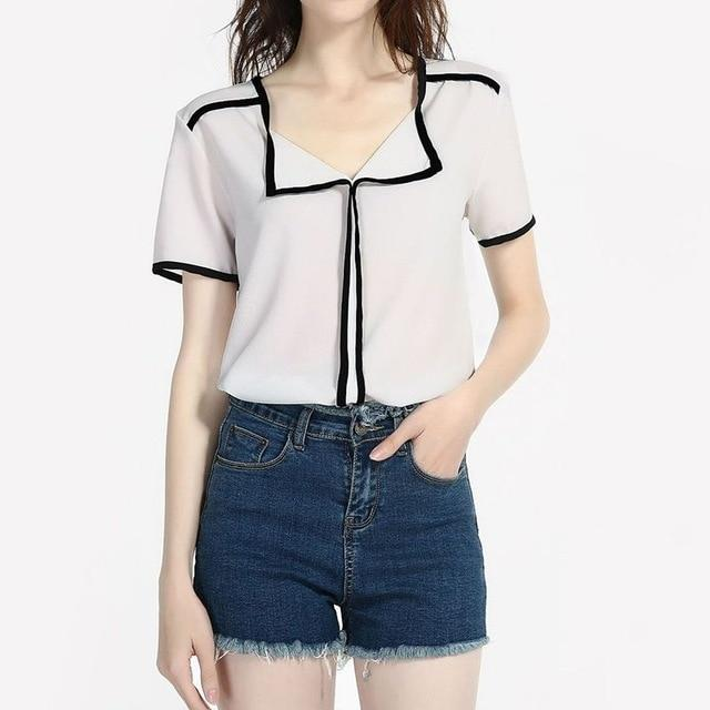 Female Elegant Chiffon Top Office Lady V-neck Shirts Blouses Women Short Sleeve Stripe Patchwork 2018 Summer Chiffon Blouse Tops-noashe