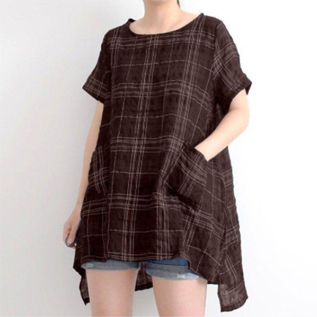 Plus Size ZANZEA Summer Harajuku Short Sleeve Plaid Check Shirt Women Loose Casual Blouse Cotton Linen Pockets Party Top Blusas-noashe