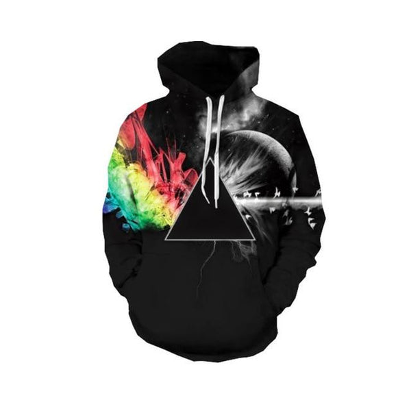 2018 Fashion 3d Hooded sweatshirt Colorful triangle combination print Men/Women Starry sky pullover Hoodies Sweatshirts-noashe