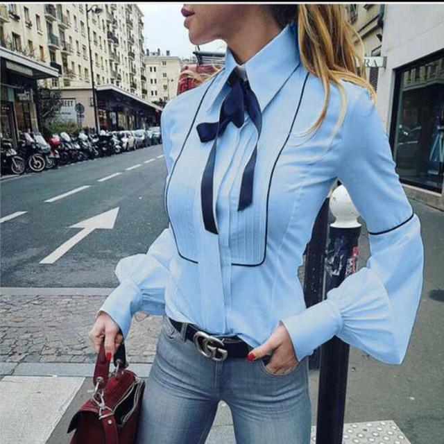 Office Bow Tie Blouse Women Lantern Sleeve White Button Necktie Shirts Female Elegant Work Shirt Casual Tops New 2018 Spring-noashe