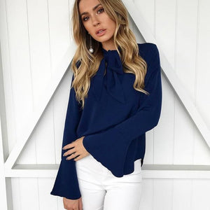 Women Flare Long Sleeve Chiffon Blouse Bow Irregular Solid Ruffle Fashion Blouses New 2018 Spring Casual Black Pink Tops Shirts-noashe