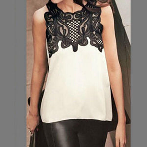 Summer Women Blouse Casual Sleeveless Chiffon Lace Blouse Shirt Summer Tops Renda Crochet Casual Shirts Tops-noashe
