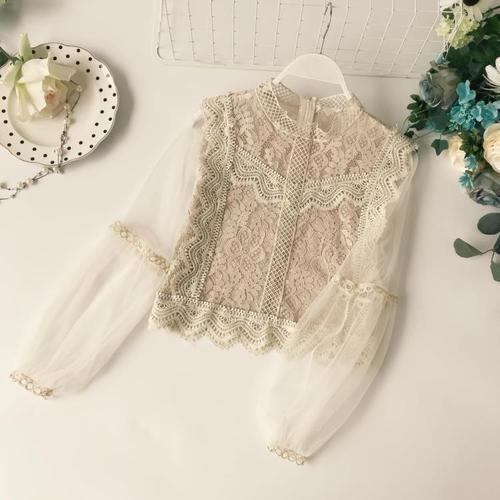 New Arrival Ladies Mesh Lace Hook Flower Lantern Sleeve Loose Retro Short Pullover Blouse Shirts Women Fashion Cute Voile Suits-noashe