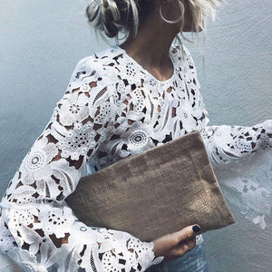 Chic Lace Flare Sleeve White Blouse Shirt Women Autumn Sexy Hollow Slim Pullover Tops 2018 Autumn New Blusas-noashe