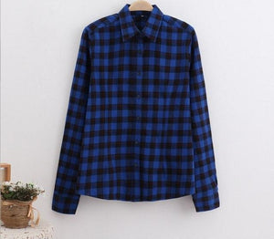 2017 Women's Fashion Plaid Shirt Female College style Blouses Long Sleeve Flannel Shirt Plus Size Cotton Blusas Office tops 5XL-noashe