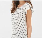 Summer Butterfly Sleeve Polka Dot Blouses Fashion O-Neck Women Chiffon Blouse White Black Color shirt-noashe