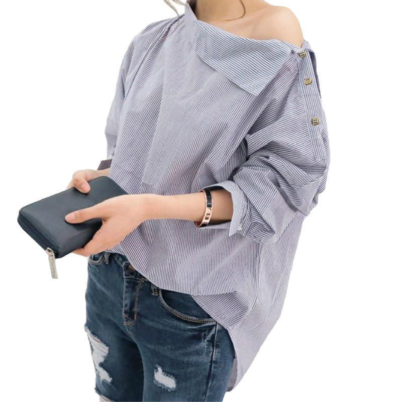 Women Striped Blouse Long Sleeve Off Shoulder Pullover Shirt Bat Sleeve Blue Black Blouses Shirts Tops Womens Tops And Blouses-noashe