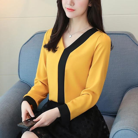 2018 fashion chiffon office lady shirt women blouse long sleeve V-neck women tops patchwork women's clothing shirts Tops D826 30-noashe