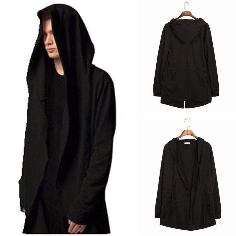 Men Hooded Sweatshirts With Black Gown Hip Hop Mantle Hoodies Fashion Jacket long Sleeves Cloak Man's Coats Outwear-noashe