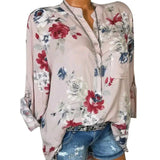 LASPERAL 2018 Women Summer Autumn Long Sleeve V Neck Women Blouse Floral Print Irregular Shirts 5XL Plus Size Women Tops Blouse-noashe