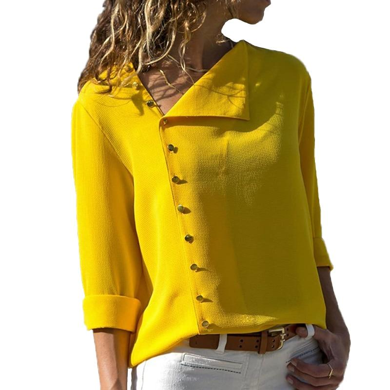 Summer 2018 Fashion Button Long Sleeve Yellow White Shirt Womens Tops And Blouses Female Tunic Office Chemise For Feminina Femme-noashe
