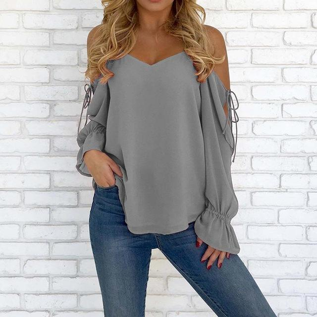 2018 ZANZEA Autumn V Neck Sexy Off Shoulder Shirt Women Summer Blouse Strappy Long Sleeve Work Tops Casaul Party Solid Blusas-noashe