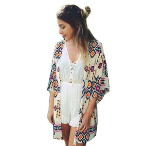 2017 Women's Loose Chiffon Kimono Cardigan Print Long Blouse Tops Beach Cover Up H1-noashe