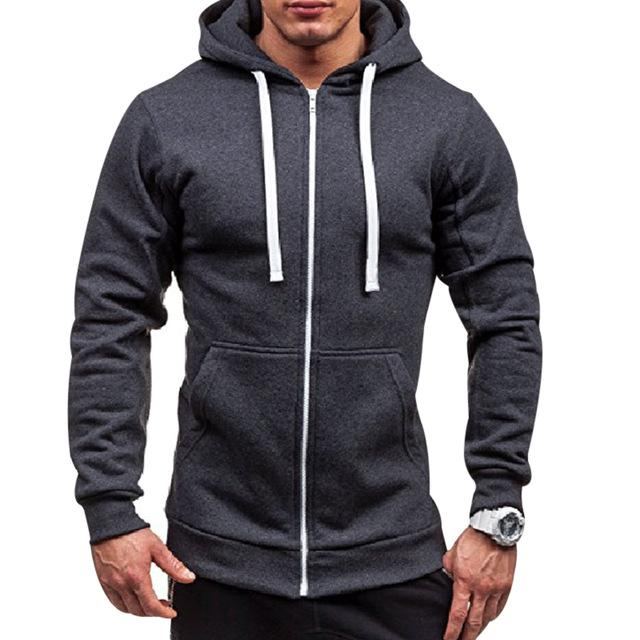 Plus Size Men's Hoodies Tracksuit 2018 Autumn Winter Drawstring Pocket Hooded Sweatshirt Long Sleeve Zip Slim Coat Male Jacket-noashe