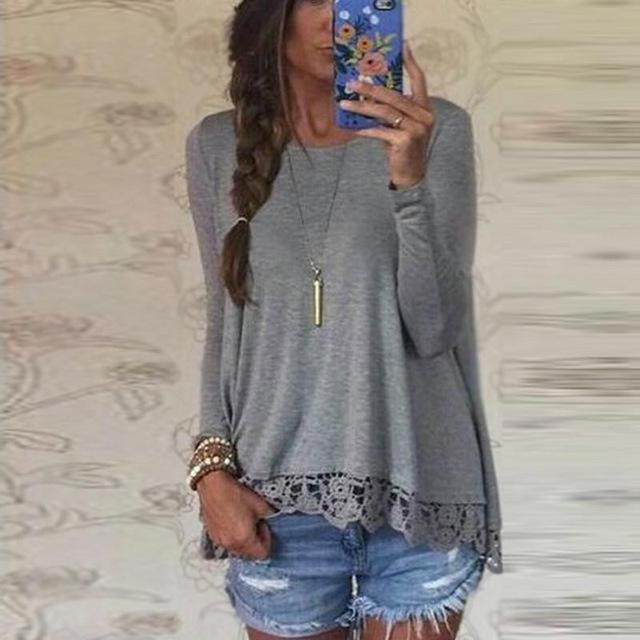 Autumn Blouse 2018Fashion Women Long Sleeve O-Neck Casual Tops Sexy Lace Crochet Blusas Shirts Plus Size-noashe