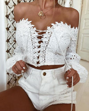 Summer Blouse Women Fashion Casual ladies blouses Off Shoulder Long Sleeve Hollow Lace Loose Blouse Tops Shirt 2018-noashe