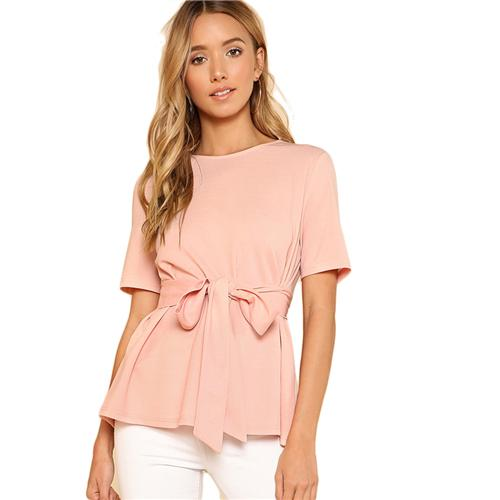 Sheinside Self Belt Keyhole Back Blouse Solid Short Sleeve Top 2018 Summer Women Office Ladies Work Elegant Blouse-noashe