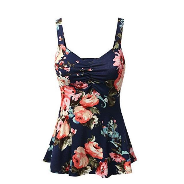 Plus Size Women Summer Floral Blouse Sleeveless V Neck Tops Blouse Shirts 2018 New Women Clothing Female Clothes-noashe