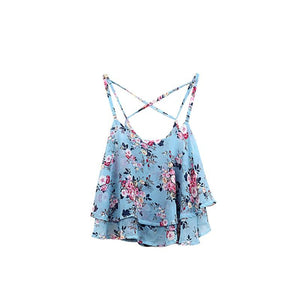 Women Shirts Tanks Top Summer Clothing Spaghetti Strap Floral Print Chiffon Shirt Vest Blouses Crop Top Sexy Tanks Tops Female-noashe