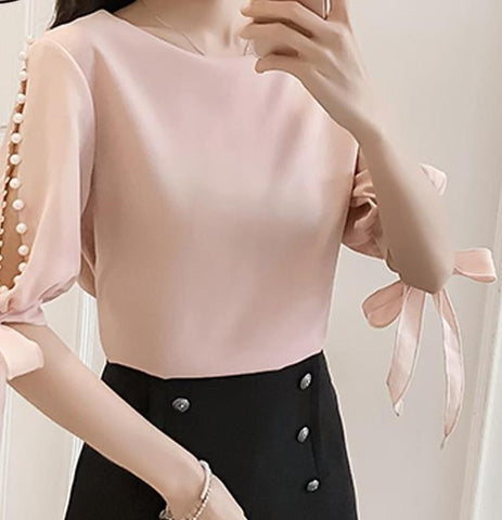 New 2018 Summer Pearl Sleeve Loose Women Blouses Shirt White Shirt Korean Chiffon Shirt Small Fresh Tops Female Blusas 0359 40-noashe
