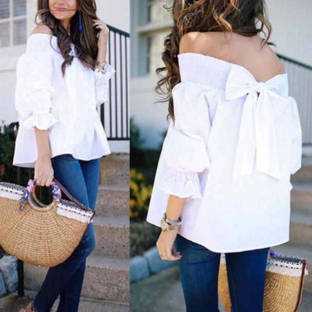 Women Sexy Off Shoulder Blouse Celmia 2018 Summer Top Casual Loose Slash Neck Bow Flare Sleeve Shirt White Tops Blusas Plus Size-noashe
