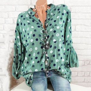 4XL Plus Size Polka Dot Printed Women Blouse Fashion V Neck Long Sleeve Ladies Office Shirt Autumn Apring Loose Tops Femme Blusa-noashe