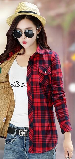 Women Winter Velvet Thick Keep Warm Plaid Blouses Long Sleeve Buttons Pocket Shirt 2018 Feminine Tops Shirts Checked Shirt Women-noashe
