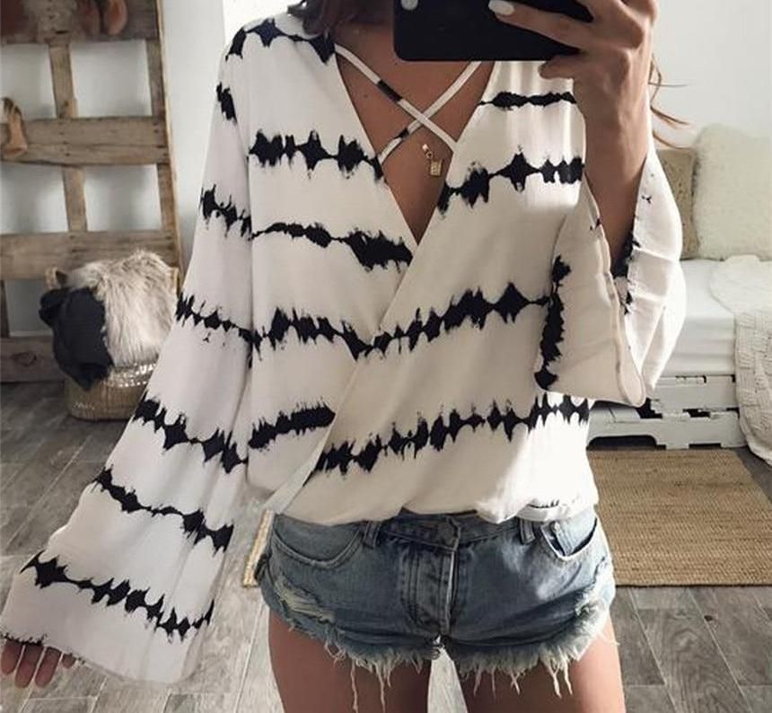 CHAMSGEND Trendy Style Women Blouse Chiffon Shirts 2018 Autumn Casual Striped Loose Long Sleeve V Neck Tops feminine blouse-noashe
