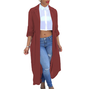 Summer Women Chiffon Cardigan Long Sleeve Sexy See-Through Ladies Lapel Long Jacket Blouse Shirt Beach Cover Up Femme Outerwear-noashe